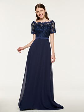 Short Sleeve Lace Long Bridesmaid Dress