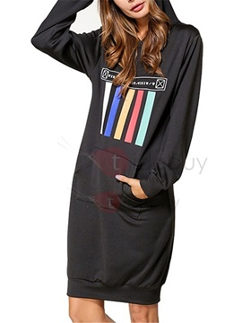 Knee Length Long Sleeve Hooded Womens Casual Dress