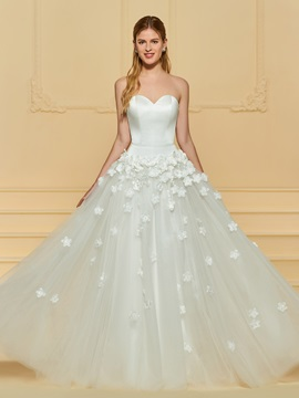 Sweetheart 3d Floral Wedding Dress