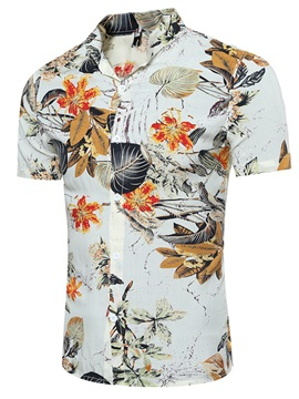 Tidebuy Floral Print Casual Mens Short Sleeve Shirt