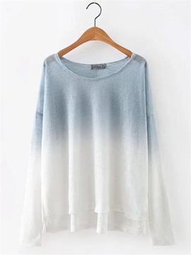 Gradient Loose Round Neck Womens T Shirt
