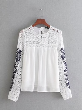 Hollow Embroidery Floral Lace Womens Blouse