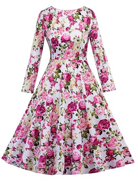 Tidebuy Floral Long Sleeves Skater Dress