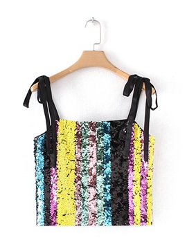 Spaghetti Straps Sequins Womens Tank Top