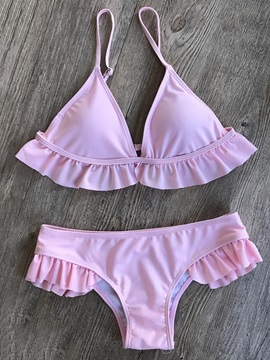 Plain Ruffles 2 Pcs Bikini Swimsuits