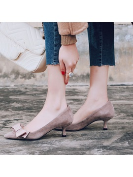 Suede Bow Slip On Pointed Toe Womens Pumps