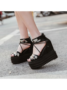 Pu Peep Toe Embroidery Floral Wedge Sandals