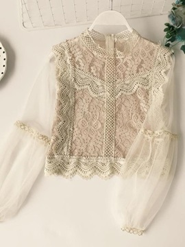 Lace Lantern Sleeve Mesh Womens Blouse