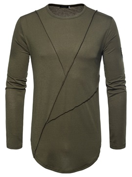 Tidebuy Plain Slim Fit Mens Long Sleeve T Shirt
