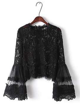 Flare Sleeve Lace Pullover Womens Blouse