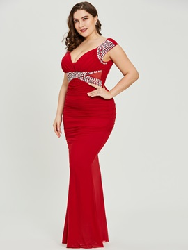 Plus Size Sheath Red Sexy V Neck Evening Dress