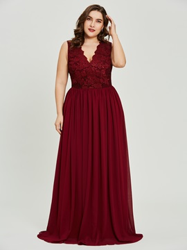 V Neck Plus Size Lace A Line Prom Dress