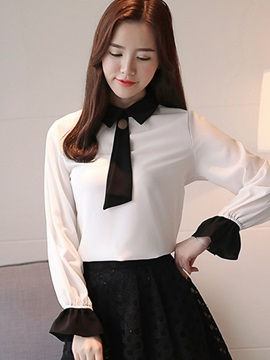 Flare Sleeve Tie Collar Womens Blouse
