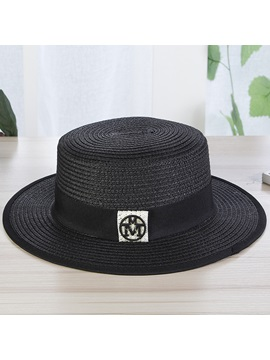 Double M Logo Decorated Flat Brim Summer Straw Hat