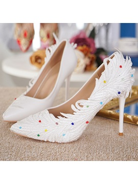 Pu Beads Pointed Toe Stiletto White Wedding Shoes