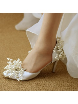 Pu Beads Rhinestone Pointed Toe Stilettos Wedding Shoes