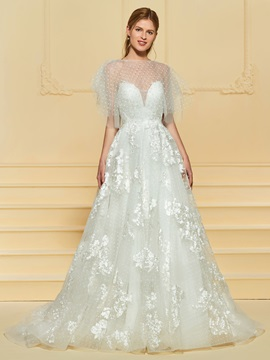 Lace Appliques Wedding Dress With Shawl