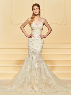 Spaghetti Straps Beading Mermaid Wedding Dress