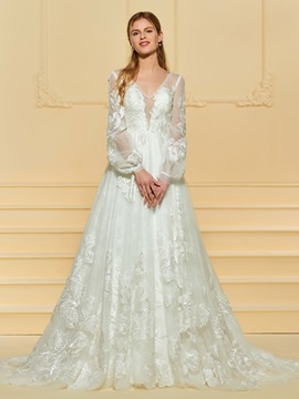 Lace Appliques Long Sleeve Wedding Dress