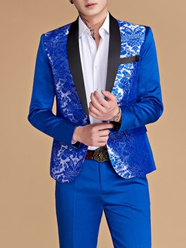 Tidebuy Floral Print One Button Slim Mens Dress Suit