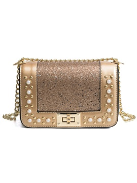Sequins Pearl Decoration Cross Body Bag