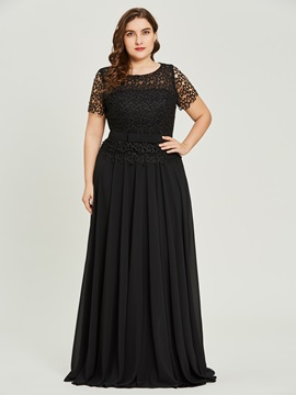 Plus Size Scoop Neck Short Sleeves A Line Prom Dress