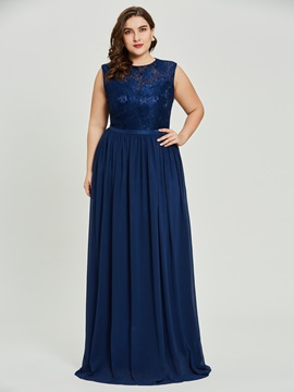 Plus Size Scoop Neck A Line Prom Dress