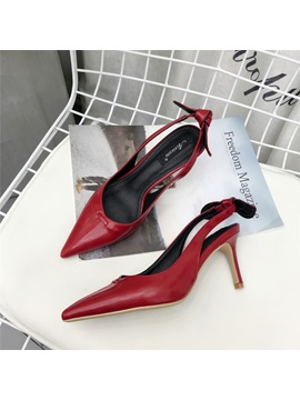 Pu Bow Slip On Slingback Pointed Toe Shoes