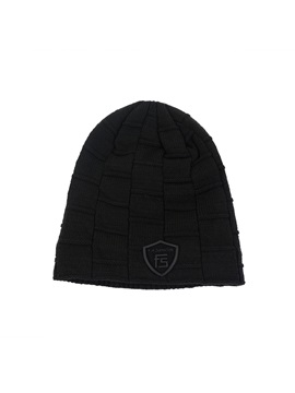 Letter Plaid Dome Woolen Yarn Mens Knitted Hat