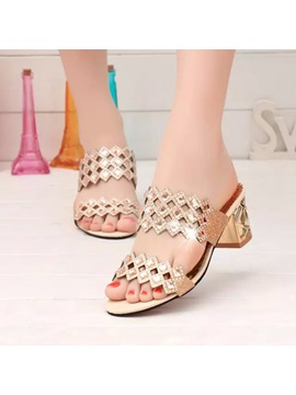 Pu Slip On Rhinestone Chunky Heel Womens Sandals