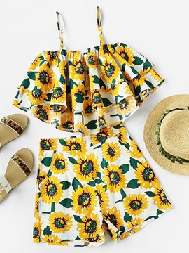 Print Cami Vest And Shorts Womens Suit