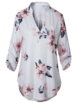 Mid Length V Neck Floral Print Womens T Shirt