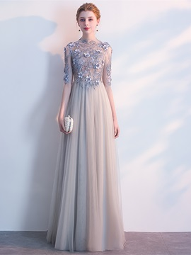A Line Embroidery High Neck Flowers Evening Dress