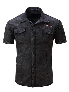 Tidebuy Vintage Style Short Sleeve Mens Denim Shirt