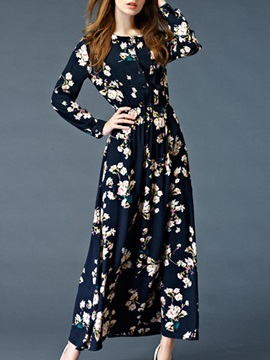 Tidebuy Floral Long Sleeves Long Maxi Dress