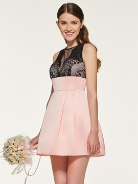 Empire Waist Lace Short Bridesmaid Dress