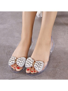 Beads Bow Rhinestone Peep Toe Jelly Shoes