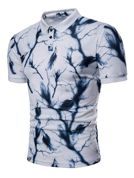 Tidebuy Unique Print Slim Mens Short Sleeve Polo