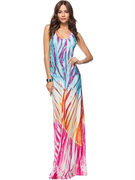 Tidebuy Milk Fiber Sleeveless Tie Dye Womens Maxi Dress