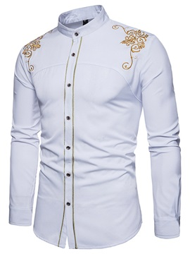 Tidebuy Embroidery Stand Collar Slim Men's Shirt