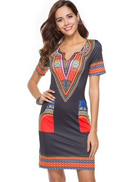 Tidebuy Short Sleeves Prints Bodycond Dress