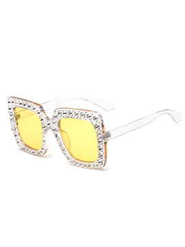 Rhinestone Square Frame Anti UV Polarized Women Sunglasses