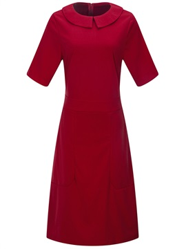 Tidebuy Peter Pan Collar Pullover Plain Womens A Line Dress