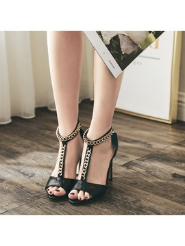 Pu Peep Toe Zipper Heel Covering Chain Womens Sandals