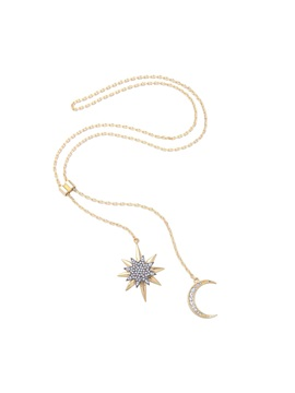 Moon Star Shape Rhinestone Inlaid Alloy Pendant Necklace