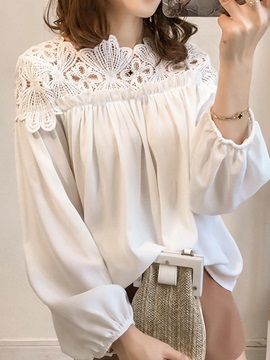 Hollow Lace Lantern Sleeve Womens Blouse