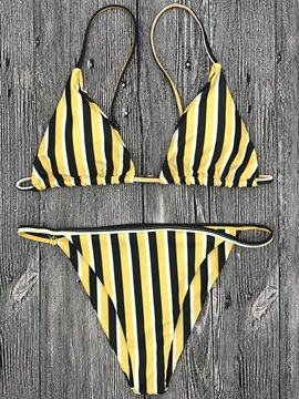 Stripe Yellow Bikini Suits
