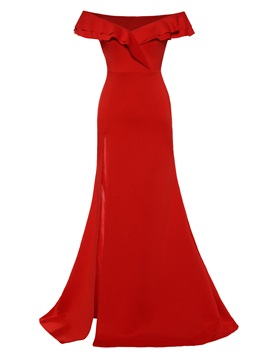 Tidebuy Red Off Shoulder Womens Maxi Dress