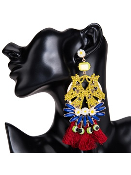 Colored Horse Shape Tassel Structured Statement Earrings