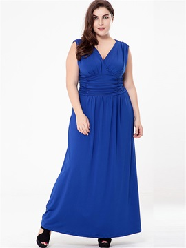 Tidebuy Ankle-Length Backless Plain V-neck Plusee Women's Maxi Dress